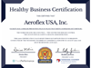 Aeroflex USA, Inc สหรัฐอเมริกา ได้รับ Healthy Business Certification ปี 2020 / Aeroflex USA, Inc at United States of America received the Healthy Business Certification 2020